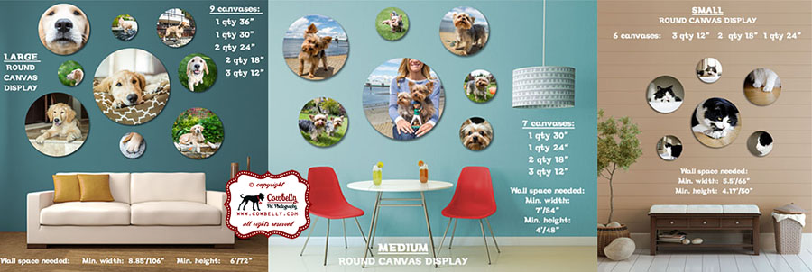 round stretched gallery wrapped canvases by cowbelly pet photography