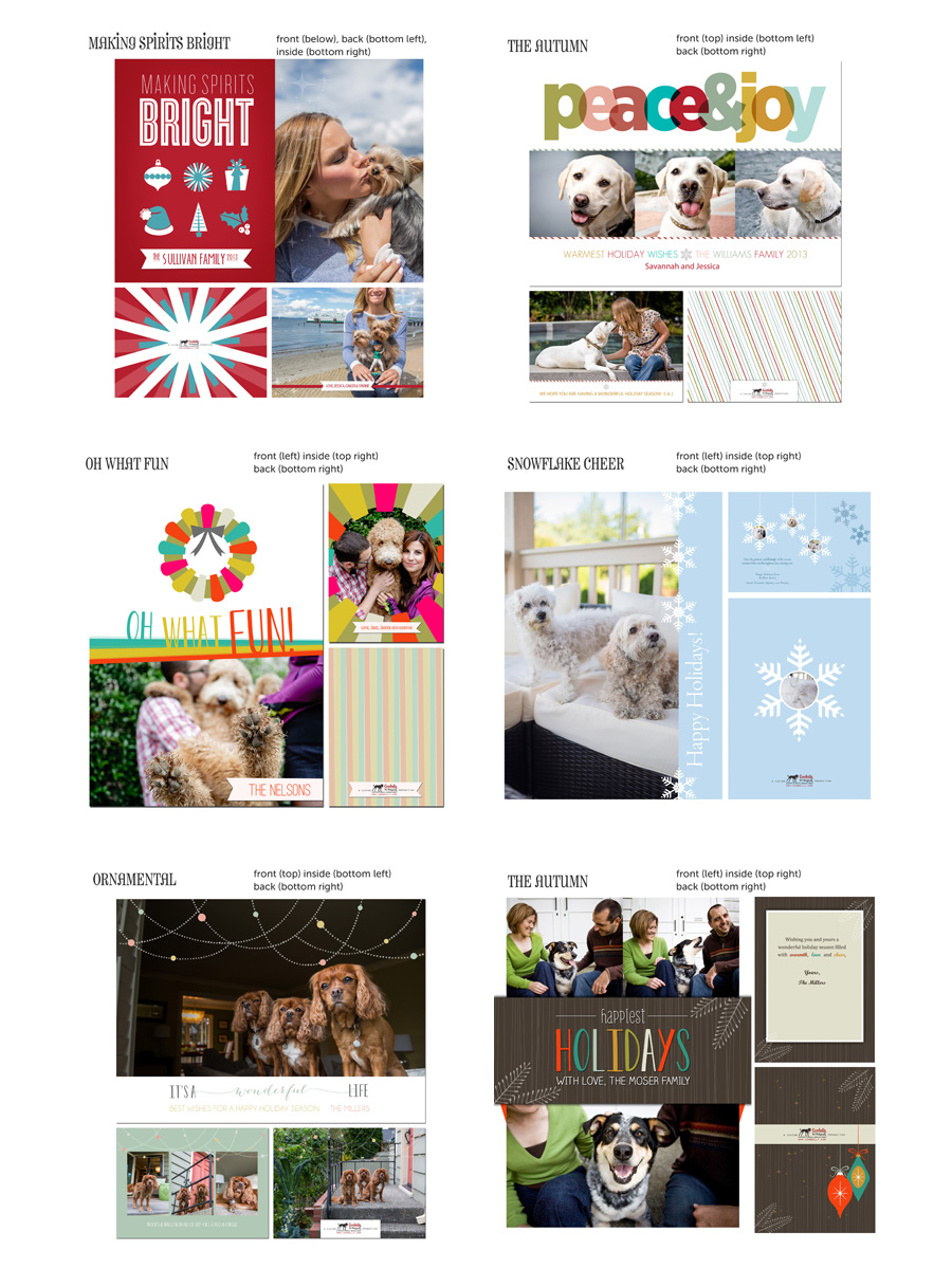 seattle holiday pet photography christmas card designs by cowbelly
