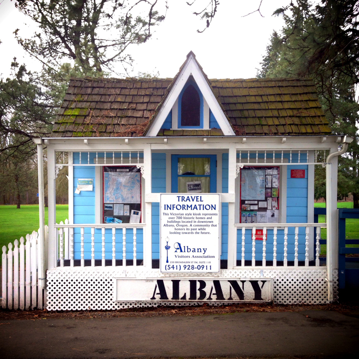 Cute rest stop building in Albany OR.